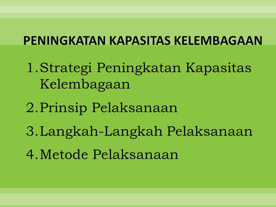 1.Strategi Peningkatan Kapasitas Kelembagaan 2.Prinsip Pelaksanaan 3.Langkah-Langkah Pelaksanaan 4.Metode Pelaksanaan