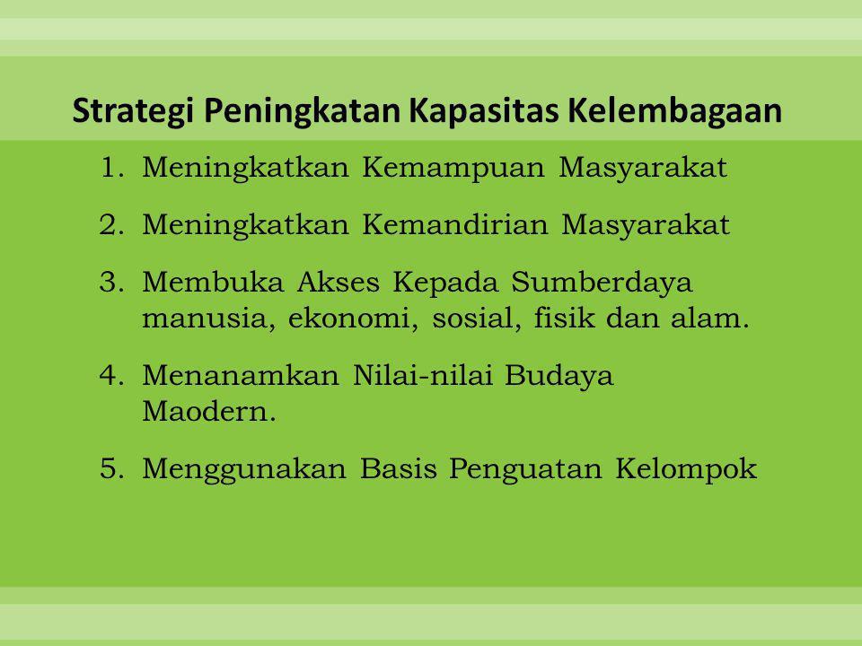 1.Meningkatkan Kemampuan Masyarakat 2.Meningkatkan Kemandirian Masyarakat 3.Membuka Akses Kepada Sumberdaya manusia, ekonomi, sosial, fisik dan alam.