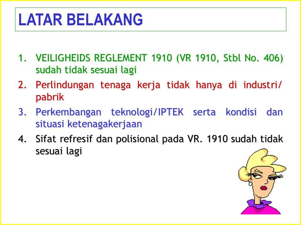 1.VEILIGHEIDS REGLEMENT 1910 (VR 1910, Stbl No. 406) sudah tidak sesuai lagi 2.Perlindungan tenaga kerja tidak hanya di industri/ pabrik 3.Perkembanga