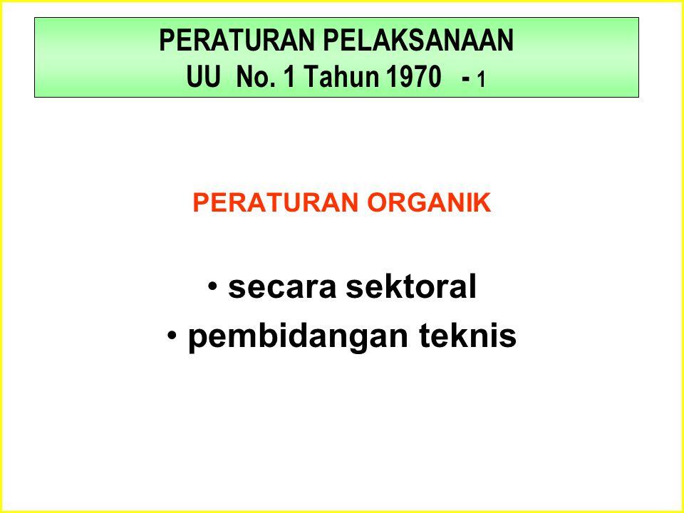 PERATURAN PELAKSANAAN UU No. 1 Tahun 1970 - 1 PERATURAN ORGANIK •secara sektoral •pembidangan teknis