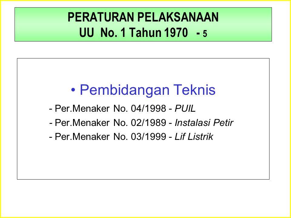 PERATURAN PELAKSANAAN UU No. 1 Tahun 1970 - 5 •Pembidangan Teknis - Per.Menaker No. 04/1998 - PUIL - Per.Menaker No. 02/1989 - Instalasi Petir - Per.M