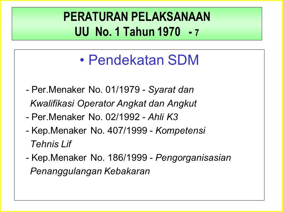 PERATURAN PELAKSANAAN UU No. 1 Tahun 1970 - 7 •Pendekatan SDM - Per.Menaker No. 01/1979 - Syarat dan Kwalifikasi Operator Angkat dan Angkut - Per.Mena