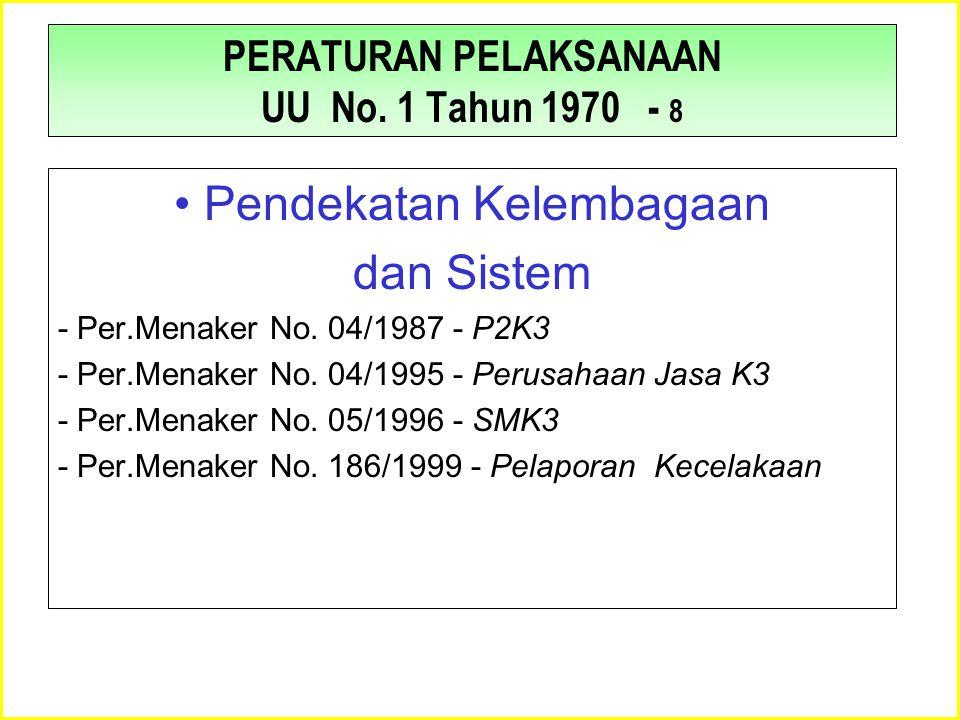 PERATURAN PELAKSANAAN UU No. 1 Tahun 1970 - 8 •Pendekatan Kelembagaan dan Sistem - Per.Menaker No. 04/1987 - P2K3 - Per.Menaker No. 04/1995 - Perusaha