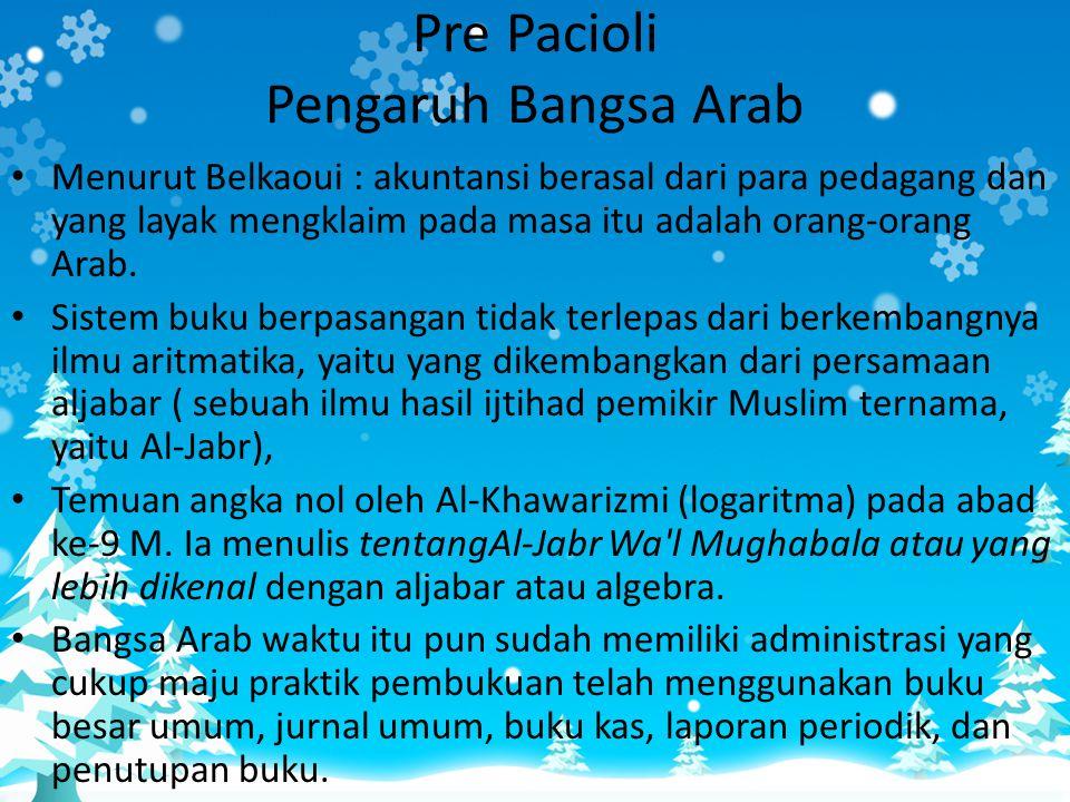 • Menurut Belkaoui : akuntansi berasal dari para pedagang dan yang layak mengklaim pada masa itu adalah orang-orang Arab. • Sistem buku berpasangan ti
