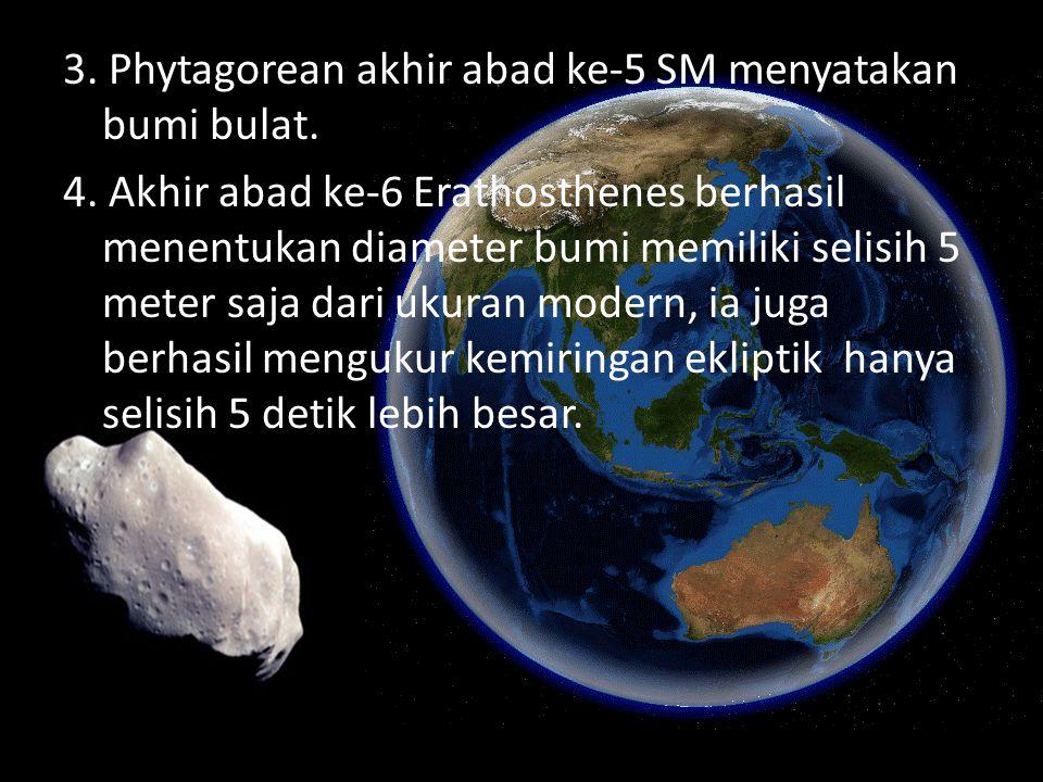 3.Phytagorean akhir abad ke-5 SM menyatakan bumi bulat.