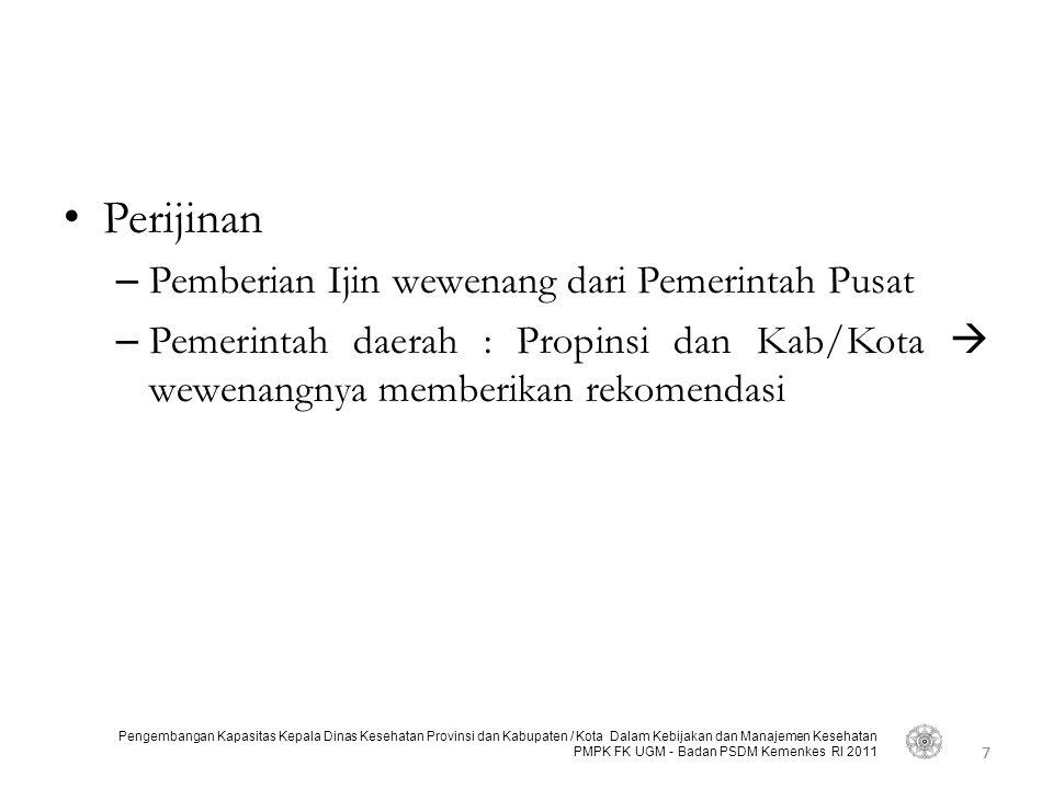 7 Pengembangan Kapasitas Kepala Dinas Kesehatan Provinsi dan Kabupaten / Kota Dalam Kebijakan dan Manajemen Kesehatan PMPK FK UGM - Badan PSDM Kemenke