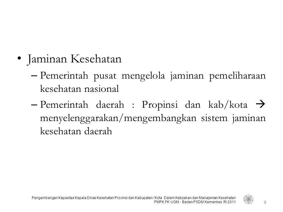 9 Pengembangan Kapasitas Kepala Dinas Kesehatan Provinsi dan Kabupaten / Kota Dalam Kebijakan dan Manajemen Kesehatan PMPK FK UGM - Badan PSDM Kemenke