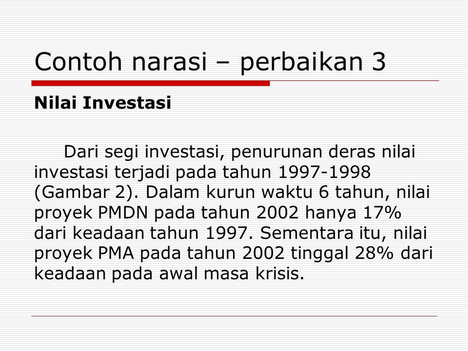 Contoh narasi – perbaikan 3 Nilai Investasi Dari segi investasi, penurunan deras nilai investasi terjadi pada tahun 1997-1998 (Gambar 2).