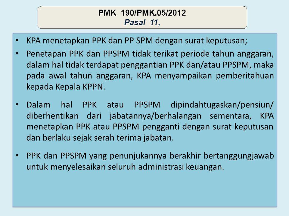 • KPA menetapkan PPK dan PP SPM dengan surat keputusan; • Penetapan PPK dan PPSPM tidak terikat periode tahun anggaran, dalam hal tidak terdapat penggantian PPK dan/atau PPSPM, maka pada awal tahun anggaran, KPA menyampaikan pemberitahuan kepada Kepala KPPN.