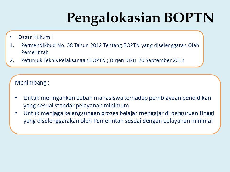 Pengalokasian BOPTN • Dasar Hukum : 1.Permendikbud No.