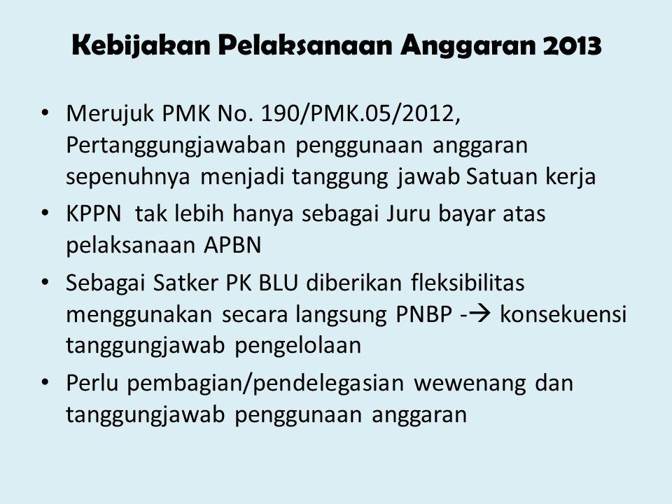 • Mulai 2013, Pendelegasian Pertanggungjawaban penggunaan anggaran PNBP ke Unit-Unit Kerja • Unit Kerja bertanggungjawab penuh atas penggunaan Anggaran PNBP  akuntabilitas kinerja • Kedepan akuntabilitas Kinerja lebih ditonjolkan ketimbang akuntabilitas Keuangan • BAPK fokus untuk pertanggungjawaban anggaran rupiah murni (RM)  PMK 190 • Selenggarakan pelatihan-pelatihan teknis dan intensifkan koordinasi agar Pelaksanaan anggaran tidak menumpuk di akhir tahun anggaran Kebijakan Pelaksanaan Anggaran 2013