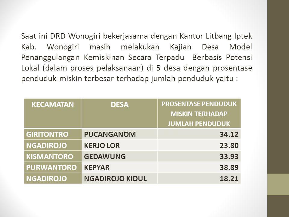Saat ini DRD Wonogiri bekerjasama dengan Kantor Litbang Iptek Kab.