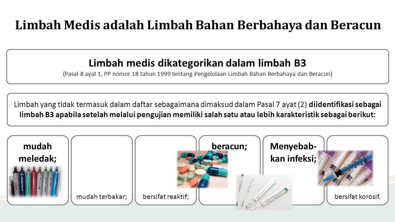 Limbah Medis adalah Limbah Bahan Berbahaya dan Beracun Limbah medis dikategorikan dalam limbah B3 (Pasal 8 ayat 1, PP nomor 18 tahun 1999 tentang Peng