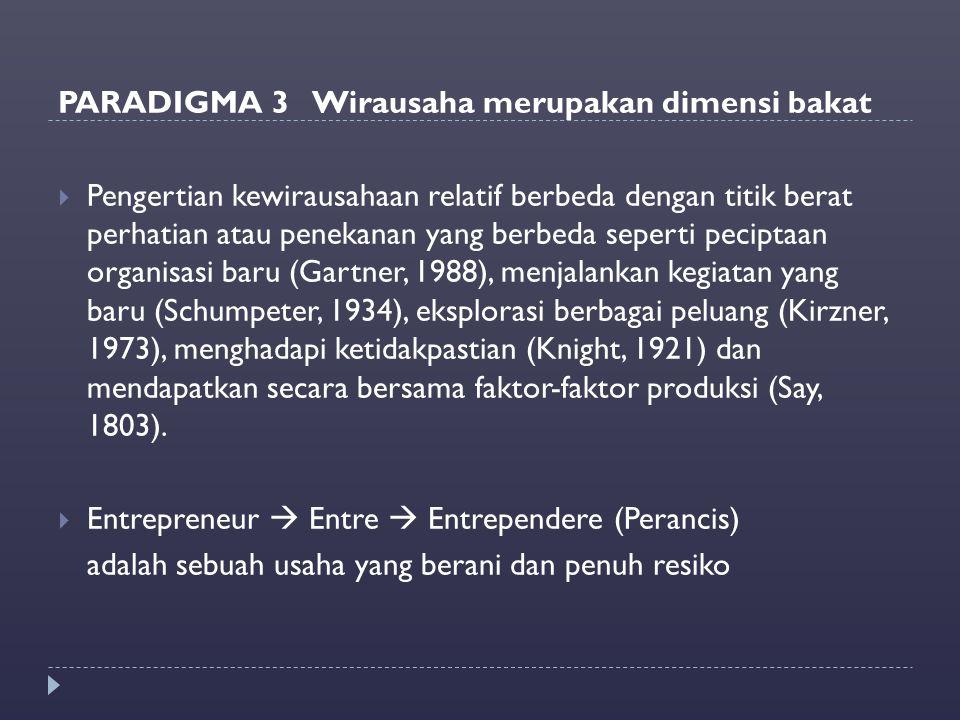 PARADIGMA 3 Wirausaha merupakan dimensi bakat  Pengertian kewirausahaan relatif berbeda dengan titik berat perhatian atau penekanan yang berbeda sepe