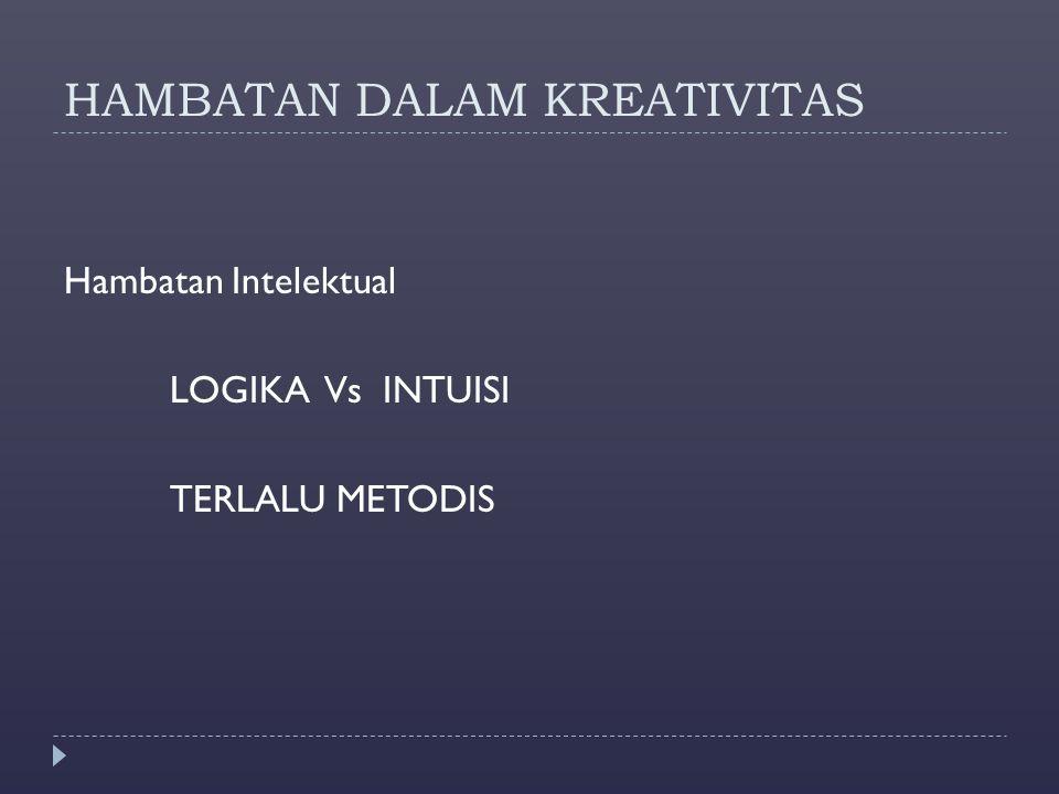 HAMBATAN DALAM KREATIVITAS Hambatan Intelektual LOGIKA Vs INTUISI TERLALU METODIS