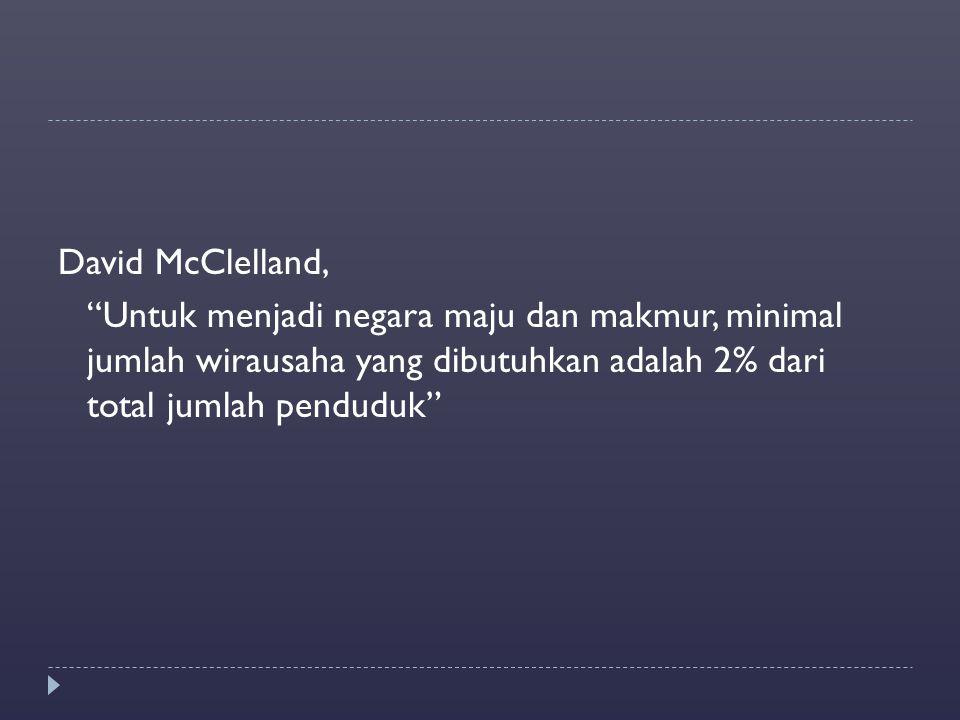 """David McClelland, """"Untuk menjadi negara maju dan makmur, minimal jumlah wirausaha yang dibutuhkan adalah 2% dari total jumlah penduduk"""""""