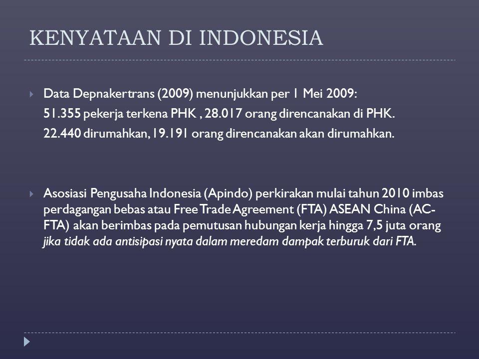 KENYATAAN DI INDONESIA  Data Depnakertrans (2009) menunjukkan per 1 Mei 2009: 51.355 pekerja terkena PHK, 28.017 orang direncanakan di PHK. 22.440 di