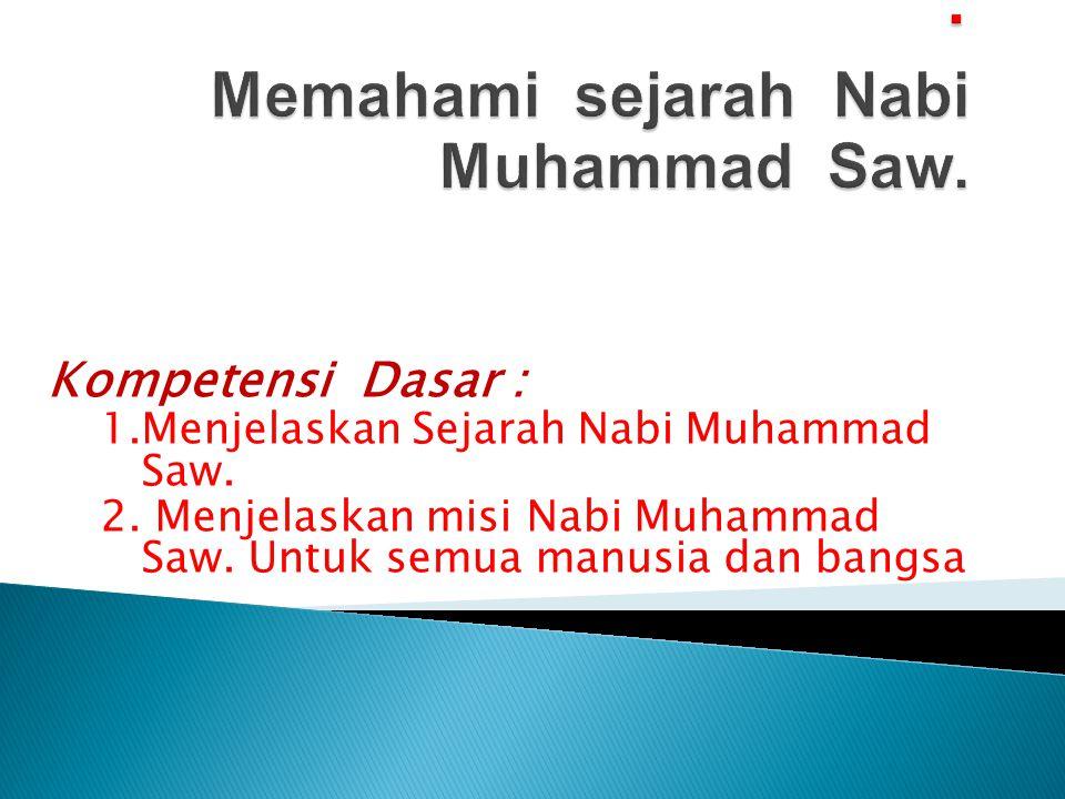 Kompetensi Dasar : 1.Menjelaskan Sejarah Nabi Muhammad Saw. 2. Menjelaskan misi Nabi Muhammad Saw. Untuk semua manusia dan bangsa