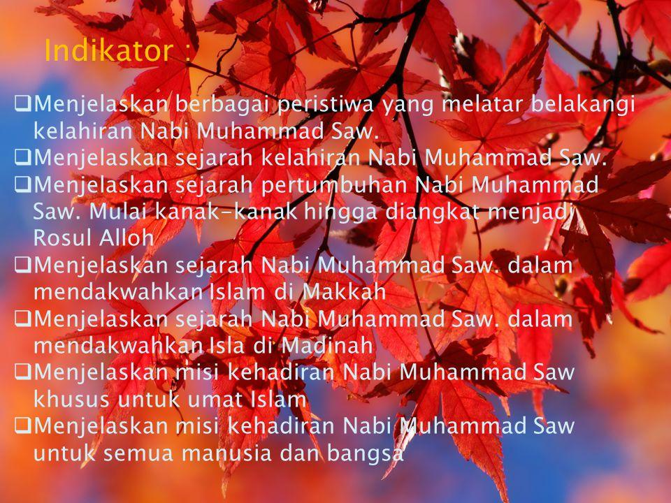 Menjelaskan berbagai peristiwa yang melatar belakangi kelahiran Nabi Muhammad Saw.  Menjelaskan sejarah kelahiran Nabi Muhammad Saw.  Menjelaskan