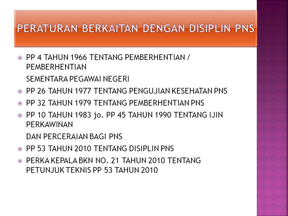  PP 4 TAHUN 1966 TENTANG PEMBERHENTIAN / PEMBERHENTIAN SEMENTARA PEGAWAI NEGERI  PP 26 TAHUN 1977 TENTANG PENGUJIAN KESEHATAN PNS  PP 32 TAHUN 1979