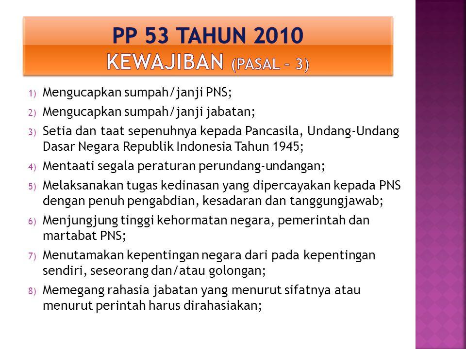 1) Mengucapkan sumpah/janji PNS; 2) Mengucapkan sumpah/janji jabatan; 3) Setia dan taat sepenuhnya kepada Pancasila, Undang-Undang Dasar Negara Republ