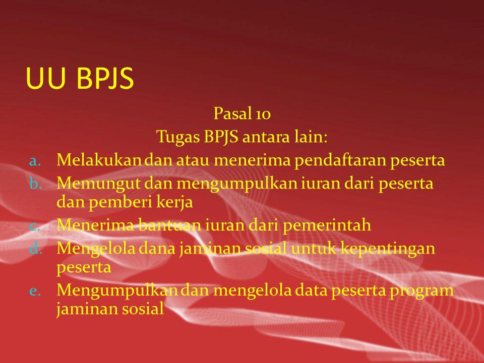 UU BPJS Pasal 10 Tugas BPJS antara lain: a.Melakukan dan atau menerima pendaftaran peserta b.