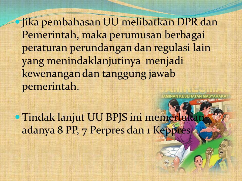  UU SJSN yang telah diundangkan Tahun 2004, mengamanatkan peraturan dalam bentuk 11 PP dan 10 Perpres.