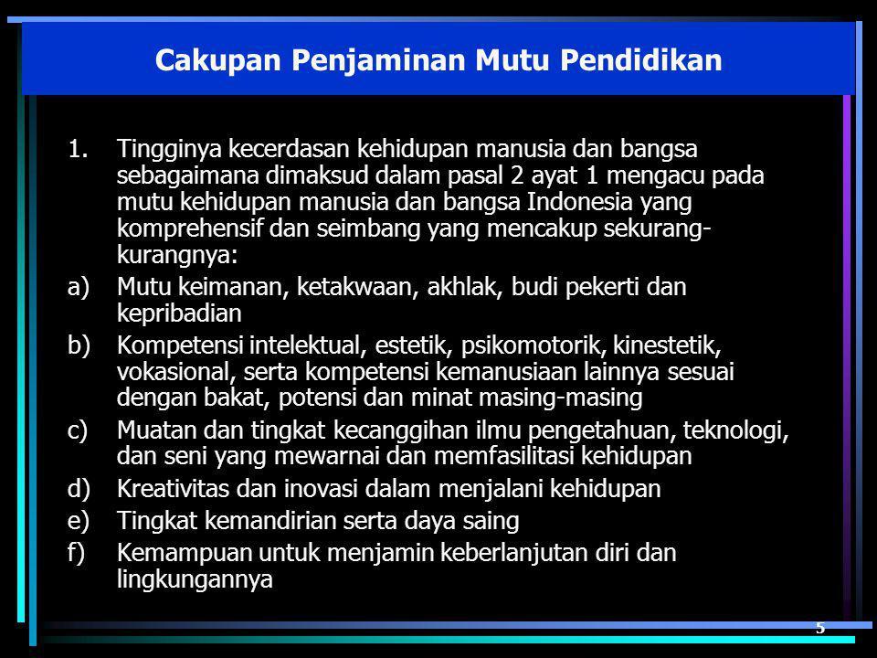 1.Tingginya kecerdasan kehidupan manusia dan bangsa sebagaimana dimaksud dalam pasal 2 ayat 1 mengacu pada mutu kehidupan manusia dan bangsa Indonesia yang komprehensif dan seimbang yang mencakup sekurang- kurangnya: a)Mutu keimanan, ketakwaan, akhlak, budi pekerti dan kepribadian b)Kompetensi intelektual, estetik, psikomotorik, kinestetik, vokasional, serta kompetensi kemanusiaan lainnya sesuai dengan bakat, potensi dan minat masing-masing c)Muatan dan tingkat kecanggihan ilmu pengetahuan, teknologi, dan seni yang mewarnai dan memfasilitasi kehidupan d)Kreativitas dan inovasi dalam menjalani kehidupan e)Tingkat kemandirian serta daya saing f)Kemampuan untuk menjamin keberlanjutan diri dan lingkungannya 5 Cakupan Penjaminan Mutu Pendidikan