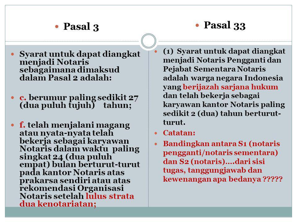  Pasal 33  (1) Syarat untuk dapat diangkat menjadi Notaris Pengganti dan Pejabat Sementara Notaris adalah warga negara Indonesia yang berijazah sarjana hukum dan telah bekerja sebagai karyawan kantor Notaris paling sedikit 2 (dua) tahun berturut- turut.