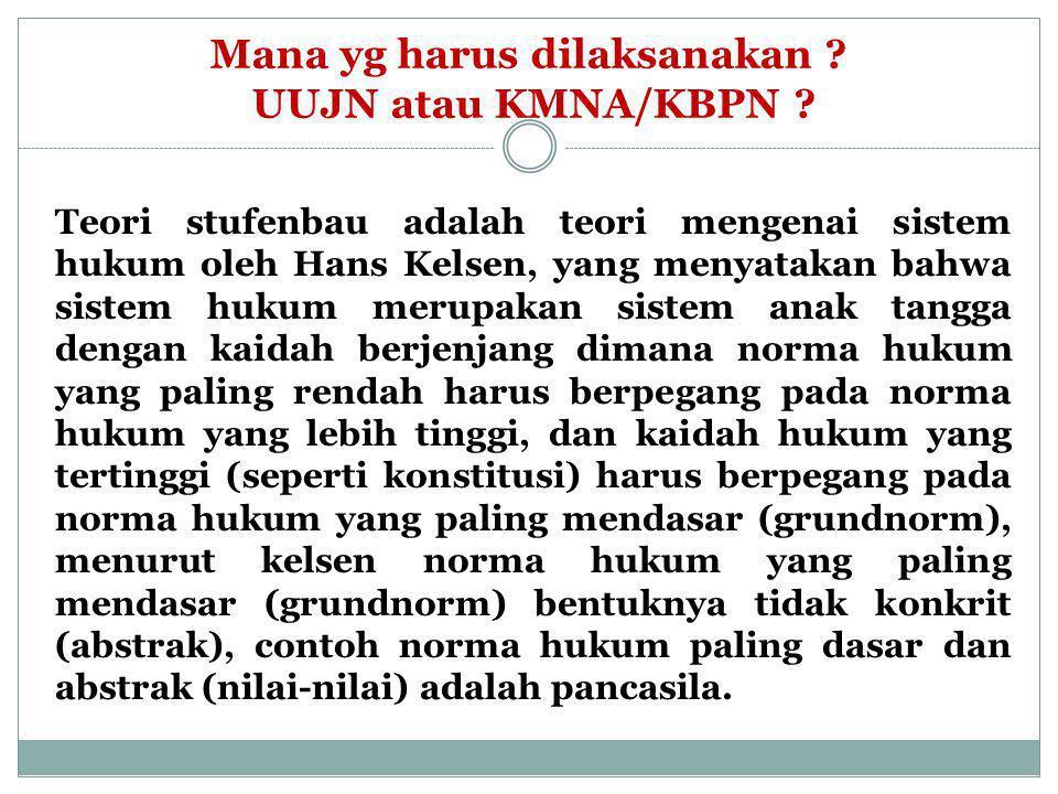 Stufenbau Teory lahir jauh hari sebelum Indonesia lahir, namun hierarki yang dimaksud masih relevan menjadi acuan dan diterapkan dalam sistem perundang- undangan di Indonesia.