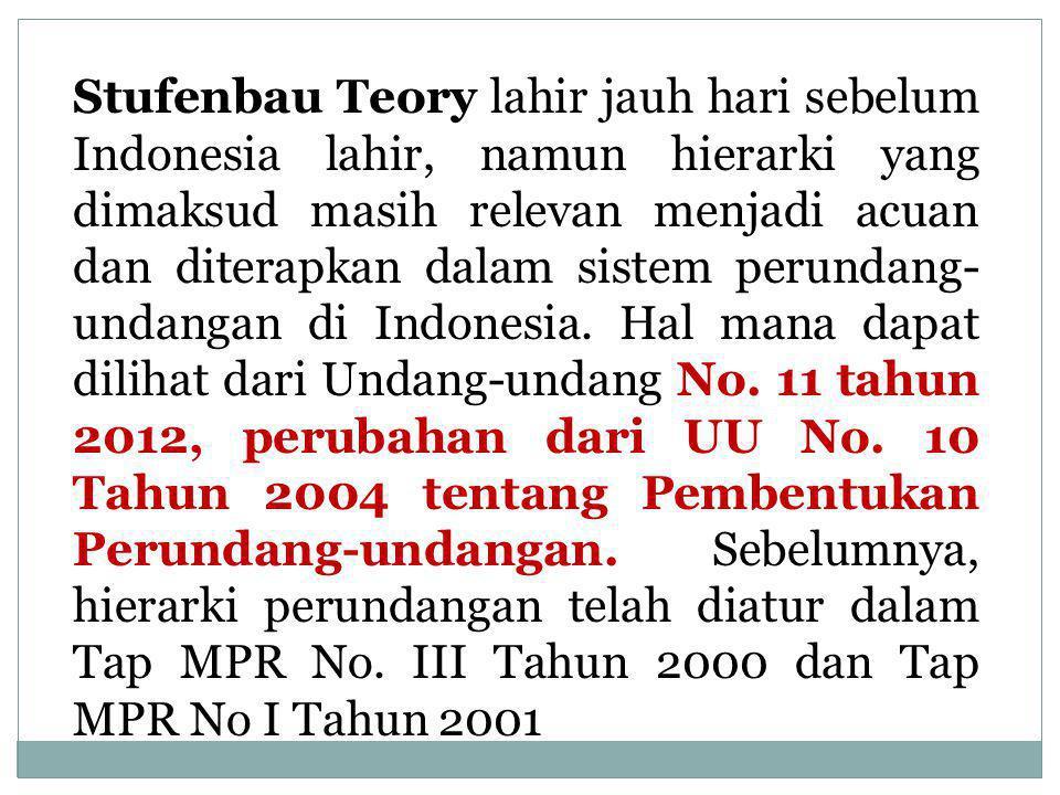 Berdasarkan teori tersebut, struktur tata hukum Indonesia adalah: 1) Staatsfundamentalnorm: Pancasila (Pembukaan UUD 1945).