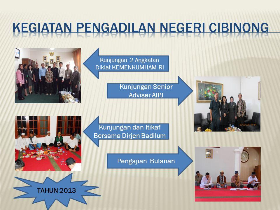 Kunjungan 2 Angkatan Diklat KEMENKUMHAM RI Kunjungan Senior Adviser AIPJ Pengajian Bulanan Kunjungan dan Itikaf Bersama Dirjen Badilum TAHUN 2013