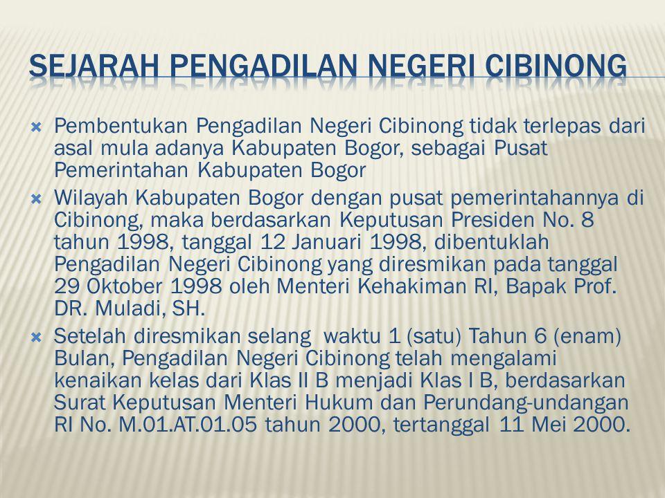  Pembentukan Pengadilan Negeri Cibinong tidak terlepas dari asal mula adanya Kabupaten Bogor, sebagai Pusat Pemerintahan Kabupaten Bogor  Wilayah Kabupaten Bogor dengan pusat pemerintahannya di Cibinong, maka berdasarkan Keputusan Presiden No.