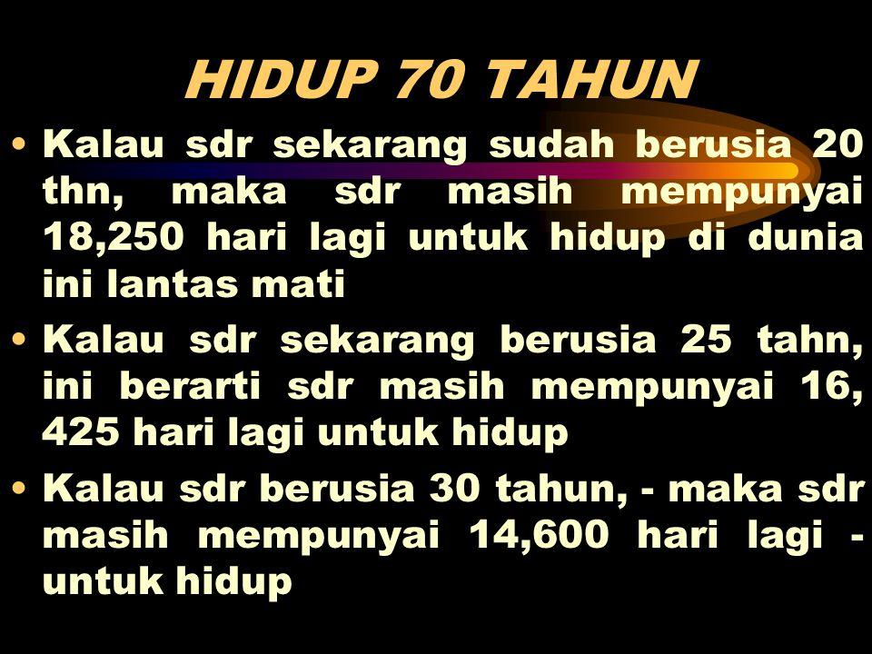 HIDUP 70 TAHUN •Kalau sdr sekarang sudah berusia 20 thn, maka sdr masih mempunyai 18,250 hari lagi untuk hidup di dunia ini lantas mati •Kalau sdr sek