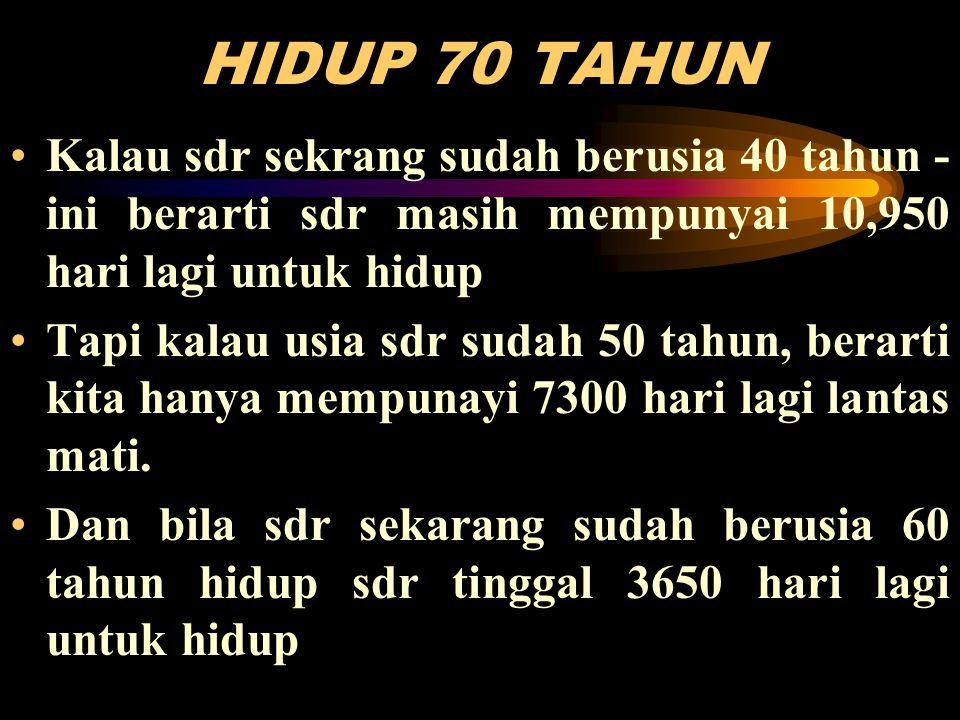 HIDUP 70 TAHUN •Kalau sdr sekrang sudah berusia 40 tahun - ini berarti sdr masih mempunyai 10,950 hari lagi untuk hidup •Tapi kalau usia sdr sudah 50