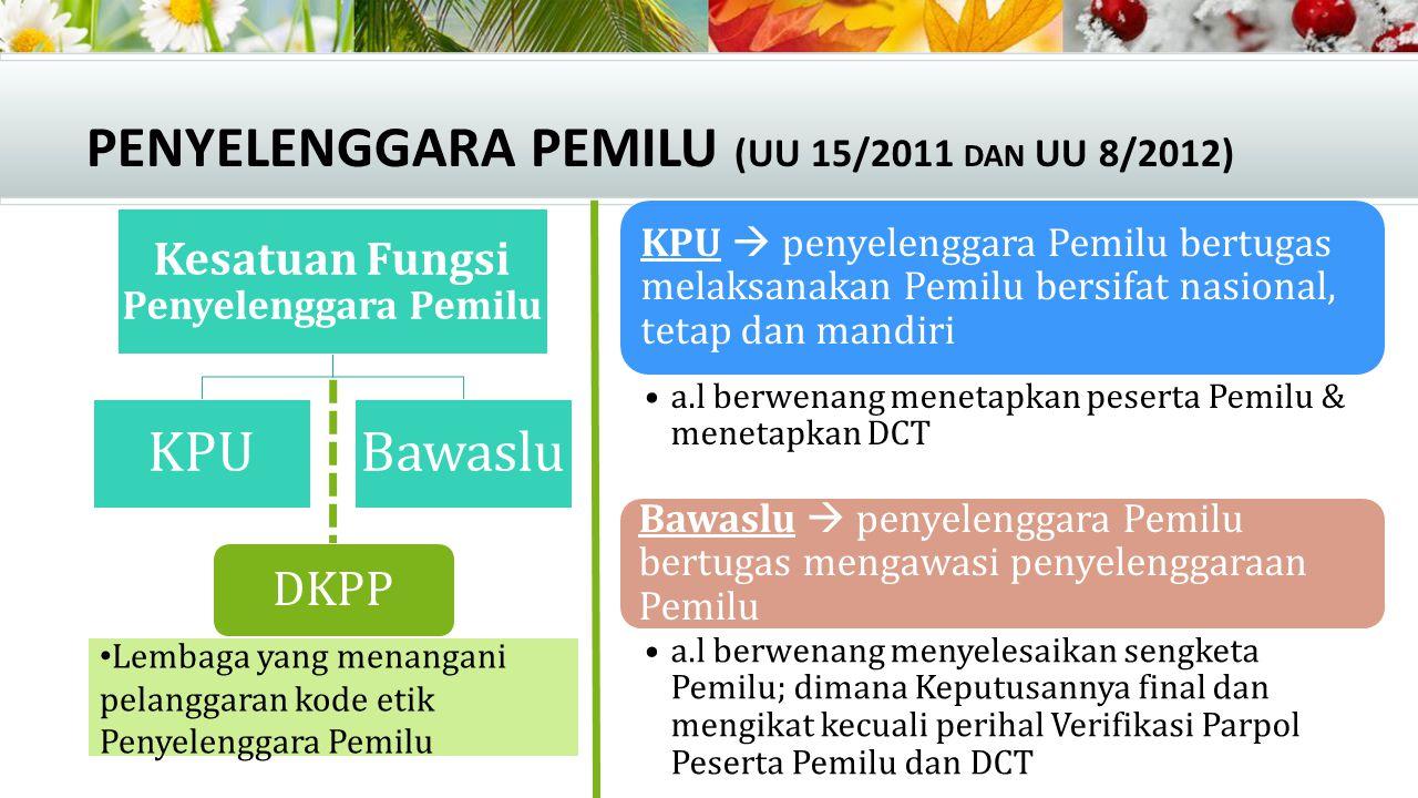 PENYELENGGARA PEMILU (UU 15/2011 DAN UU 8/2012) Kesatuan Fungsi Penyelenggara Pemilu KPUBawaslu KPU  penyelenggara Pemilu bertugas melaksanakan Pemil