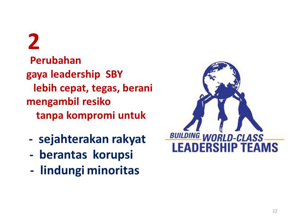 22 Perubahan gaya leadership SBY lebih cepat, tegas, berani mengambil resiko tanpa kompromi untuk - sejahterakan rakyat - berantas korupsi - lindungi minoritas 2