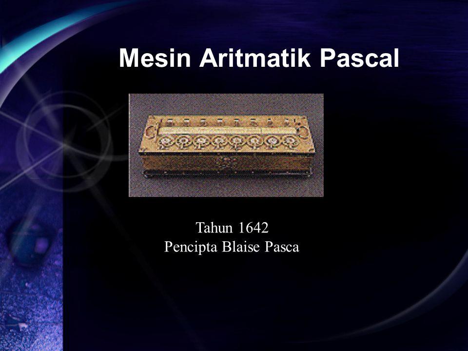 Mesin Aritmatik Pascal Tahun 1642 Pencipta Blaise Pasca