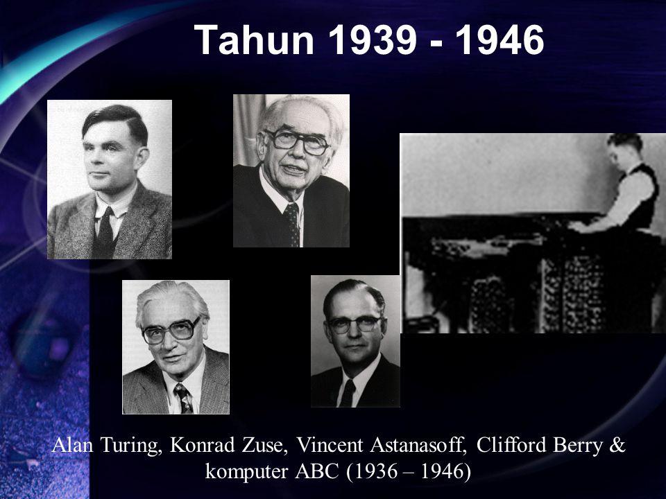 Alan Turing, Konrad Zuse, Vincent Astanasoff, Clifford Berry & komputer ABC (1936 – 1946) Tahun 1939 - 1946