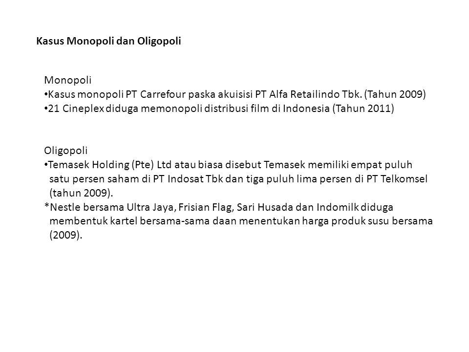 Kasus Monopoli dan Oligopoli Monopoli • Kasus monopoli PT Carrefour paska akuisisi PT Alfa Retailindo Tbk.