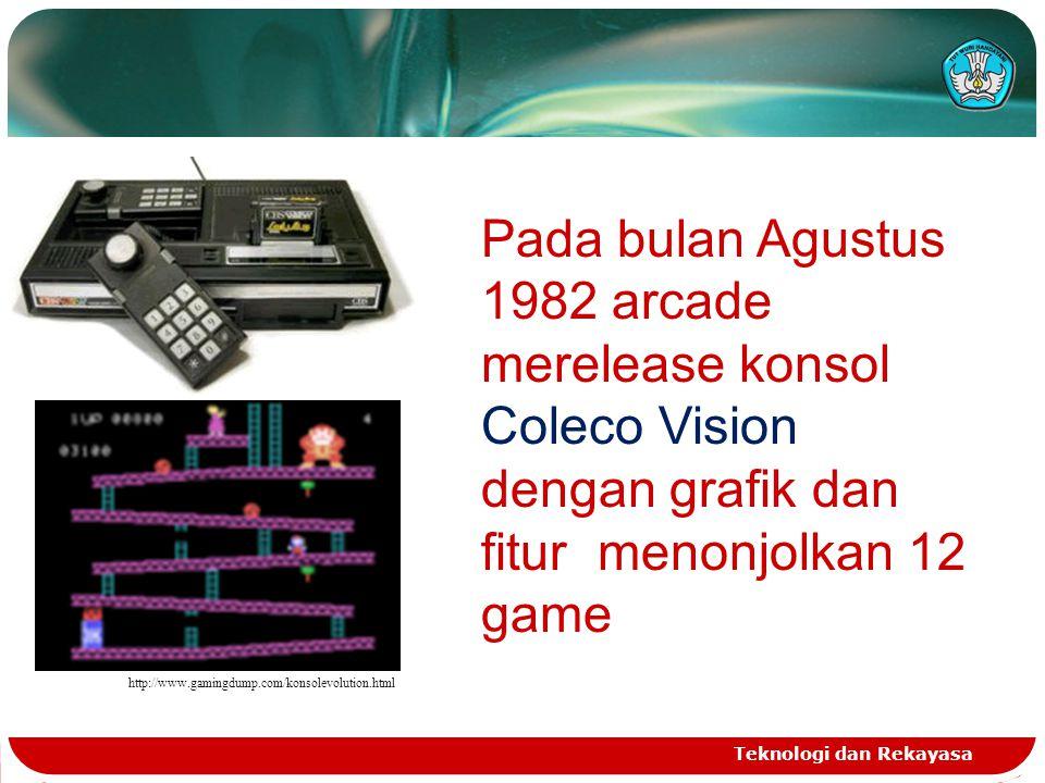 Teknologi dan Rekayasa http://www.gamingdump.com/konsolevolution.html Pada bulan Agustus 1982 arcade merelease konsol Coleco Vision dengan grafik dan