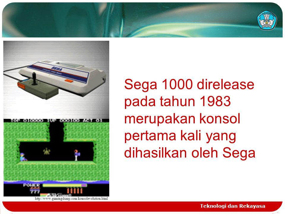 Teknologi dan Rekayasa http://www.gamingdump.com/konsolevolution.html Sega 1000 direlease pada tahun 1983 merupakan konsol pertama kali yang dihasilka