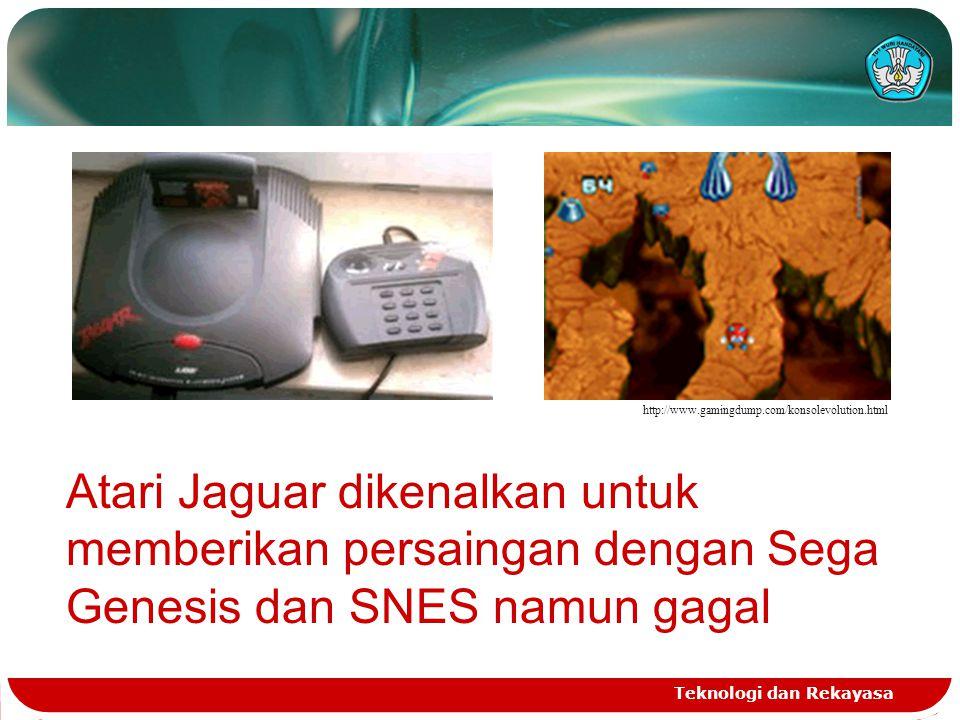 Teknologi dan Rekayasa http://www.gamingdump.com/konsolevolution.html Atari Jaguar dikenalkan untuk memberikan persaingan dengan Sega Genesis dan SNES