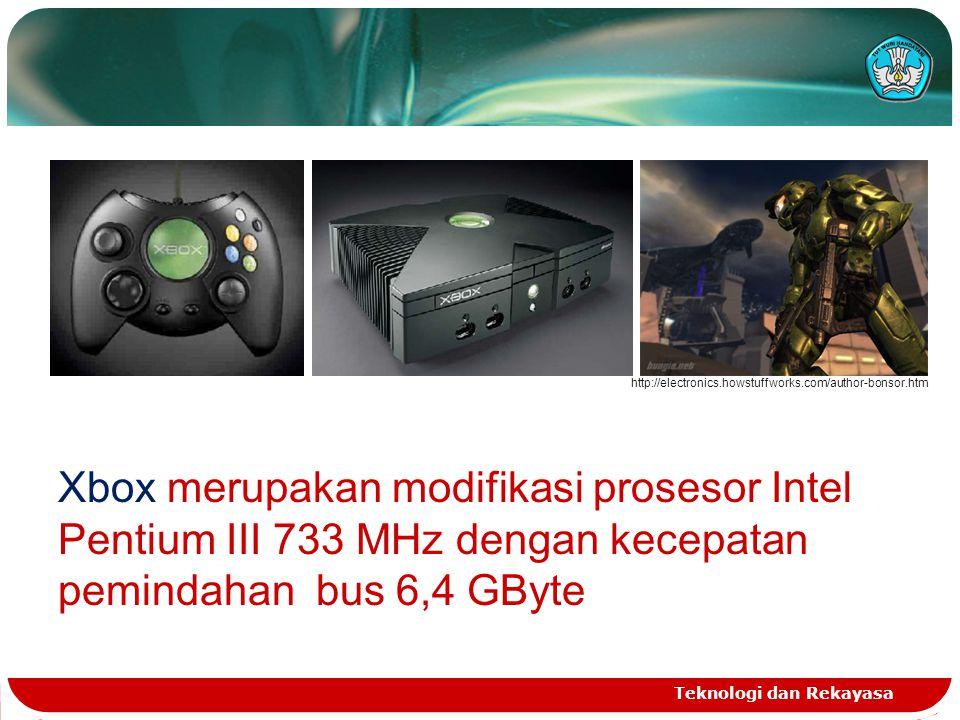 Teknologi dan Rekayasa http://electronics.howstuffworks.com/author-bonsor.htm Xbox merupakan modifikasi prosesor Intel Pentium III 733 MHz dengan kece