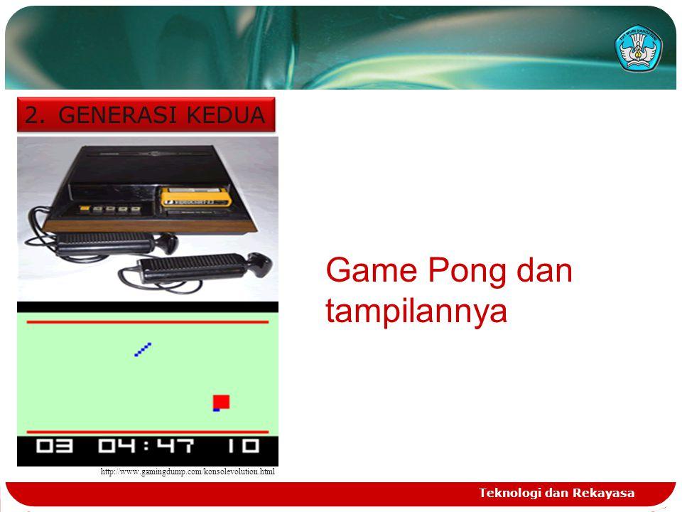 Teknologi dan Rekayasa 2.GENERASI KEDUA http://www.gamingdump.com/konsolevolution.html Game Pong dan tampilannya