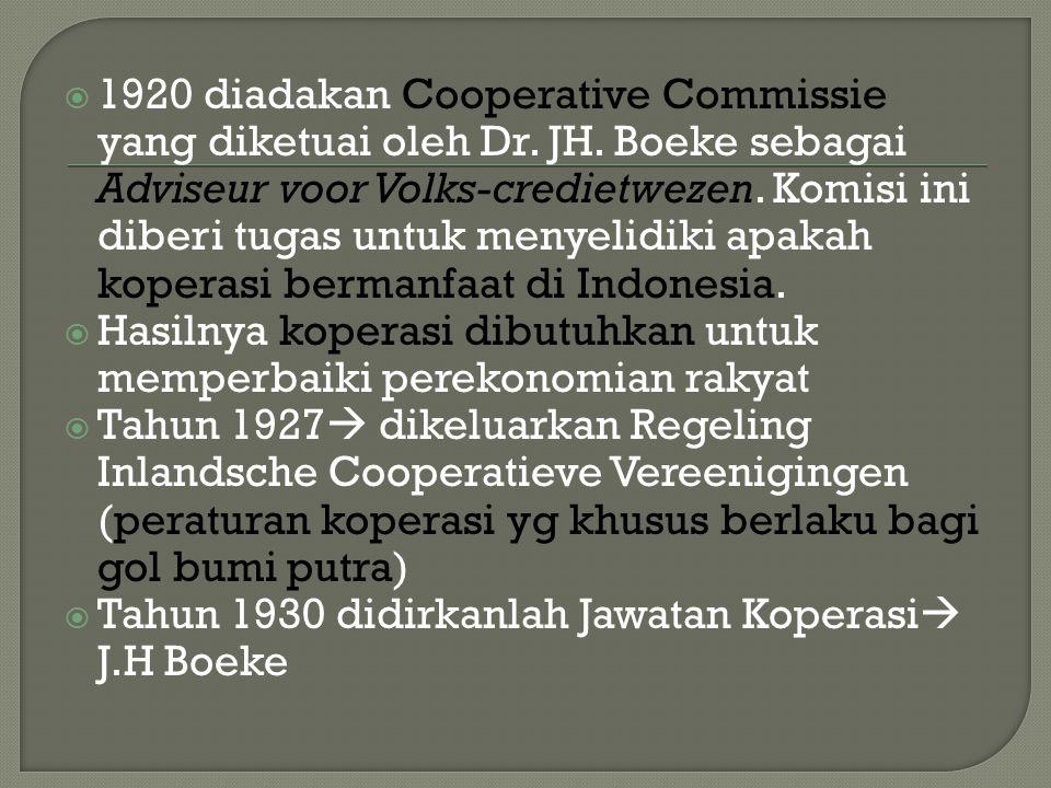  12 Juli 1947, diselenggarakan kongres gerakan koperasi se Jawa yang pertama di Tasikmalaya  SOKRI (sentral organisasi rakyat Indonesia)  1960 Pemerintah mengeluarkan Peraturan Pemerintah No.