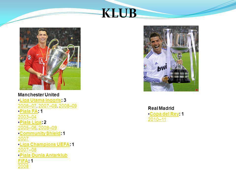 Manchester United •Liga Utama Inggris: 3Liga Utama Inggris 2006–072006–07, 2007–08, 2008–092007–082008–09 •Piala FA: 1Piala FA 2003–04 •Piala Liga: 2Piala Liga 2005–062005–06, 2008–092008–09 •Community Shield: 1Community Shield 2007 •Liga Champions UEFA: 1Liga Champions UEFA 2007–08 •Piala Dunia Antarklub FIFA: 1Piala Dunia Antarklub FIFA 2008 KLUB Real Madrid •Copa del Rey: 1Copa del Rey 2010–11