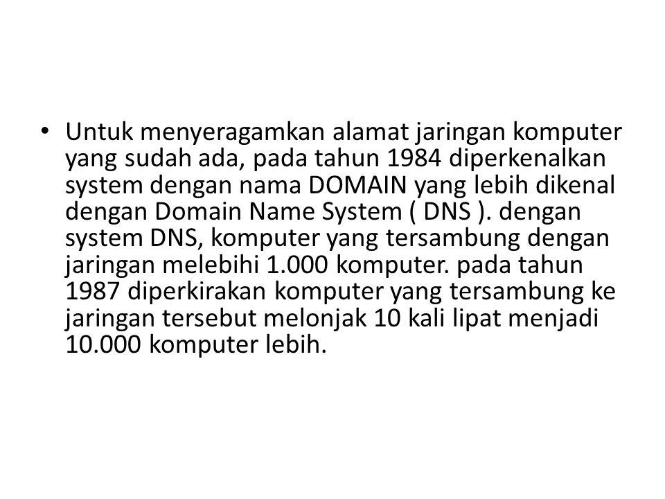 • Untuk menyeragamkan alamat jaringan komputer yang sudah ada, pada tahun 1984 diperkenalkan system dengan nama DOMAIN yang lebih dikenal dengan Domai