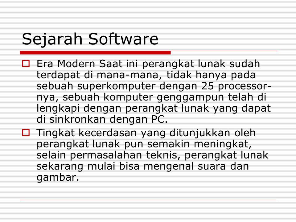 Sejarah Software  Era Modern Saat ini perangkat lunak sudah terdapat di mana-mana, tidak hanya pada sebuah superkomputer dengan 25 processor- nya, se