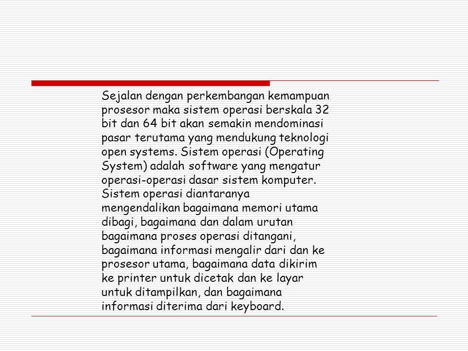 Sejalan dengan perkembangan kemampuan prosesor maka sistem operasi berskala 32 bit dan 64 bit akan semakin mendominasi pasar terutama yang mendukung t